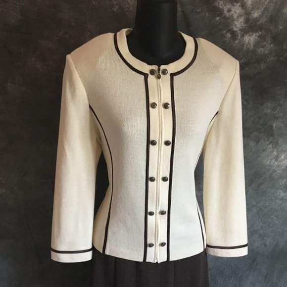 ST JOHN COLLECTION KNIT CREAM BROWN JACKET SIZE 8